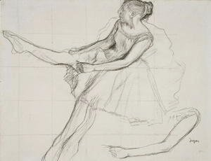 Edgar Degas - Dancer adjusting her tights, c.1880
