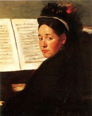 Edgar Degas - Mademoiselle Marie Dihau (1843-1935) at the piano, c.1869-72