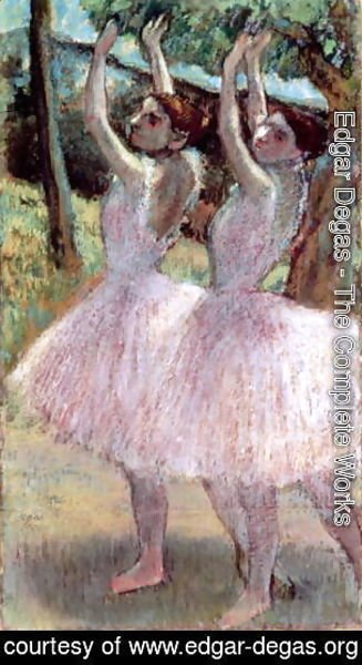 Edgar Degas - Dancers in violet dresses, arms raised, c.1900