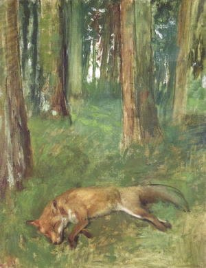 Dead fox lying in the Undergrowth, 1865