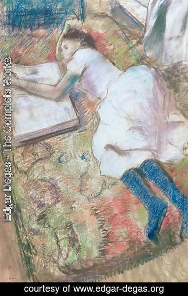 Edgar Degas - Young Girl Lying Down Looking at an Album, c.1889