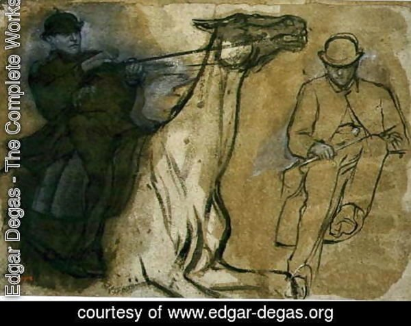 Edgar Degas - Two studies of riders
