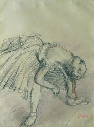 Edgar Degas - Dancer Fixing her Slipper, c.1865