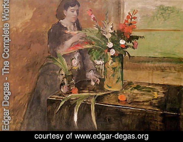 Edgar Degas - Young woman arranging flowers, 1872