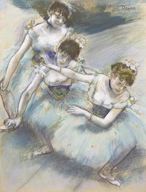 Edgar Degas - Three Dancers in a Diagonal Line on the Stage, c.1882