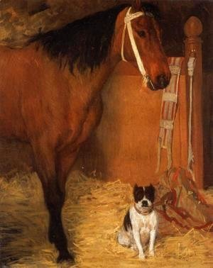 At the Stable, Horse and Dog, c.1862