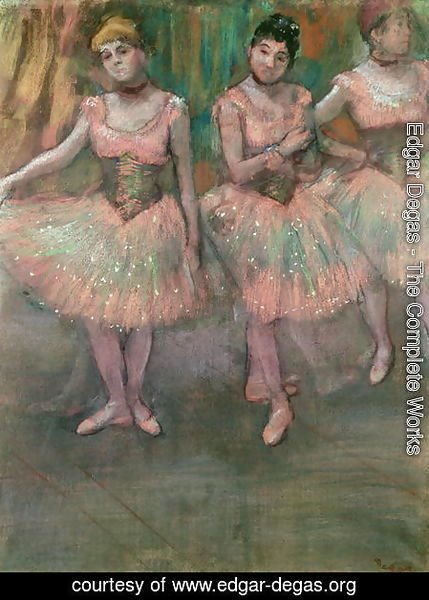 Dancers wearing salmon coloured skirts