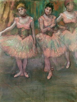 Edgar Degas - Dancers wearing salmon coloured skirts