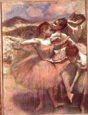 Edgar Degas - Four dancers on stage