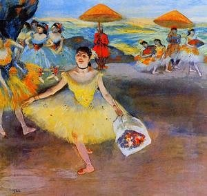 Edgar Degas - Dancer with bouquet, curtseying, 1877