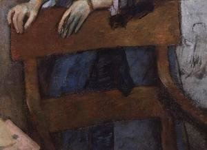 Edgar Degas - Portrait of Helene Rouart in her Fathers' Study (detail of the chair) c.1886