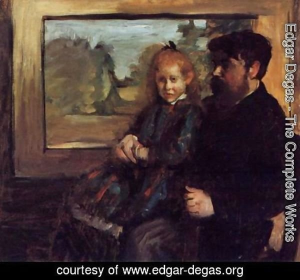 Edgar Degas - Henri Rouart and His Daughter Helene