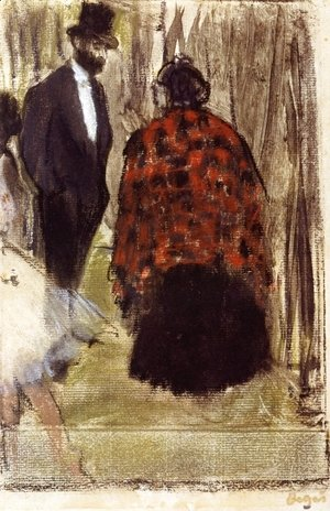 Edgar Degas - Ludovic Halevy Speaking with Madame Cardinal