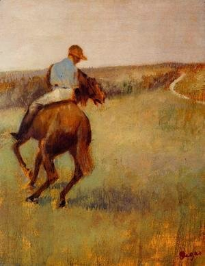 Edgar Degas - Jockey in Blue on a Chestnut Horse
