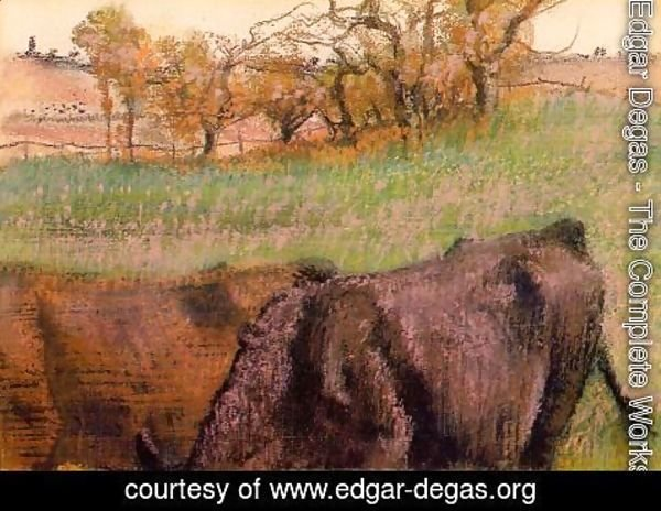Edgar Degas - Landscape: Cows in the Foreground