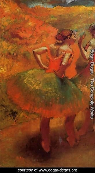 Edgar Degas - Two Dancers in Green Skirts, Landscape Scenery