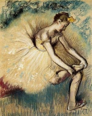 Dancer Putting on Her Slipper