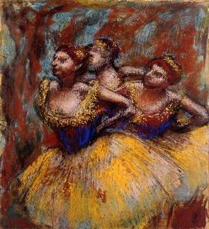 Edgar Degas - Three Dancers: Yellow Skirts, Blue Blouses