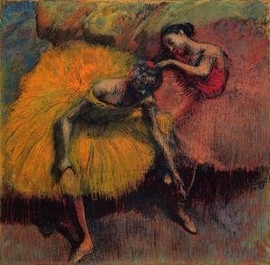 Edgar Degas - Two Dancers in Yellow and Pink