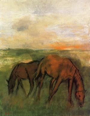 Edgar Degas - Two Horses in a Pasture