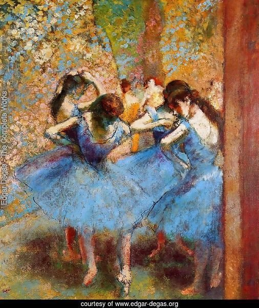 Impressionist Blue French Horn Paintings
