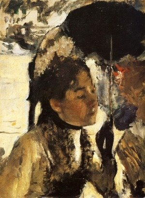 Edgar Degas - In the Tuileries woman with a parasol