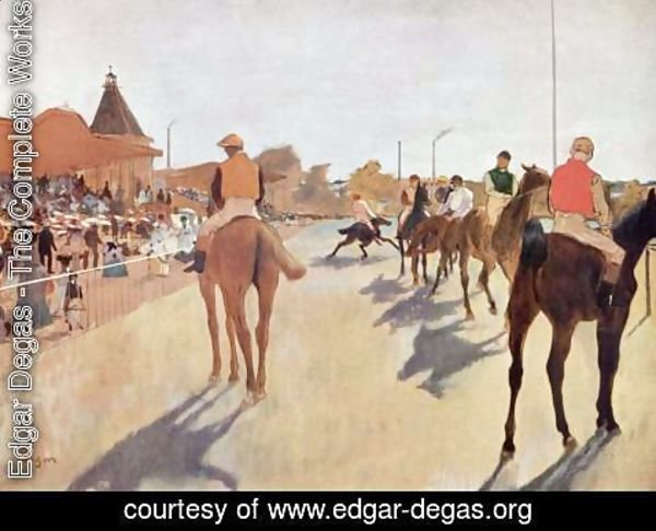 Edgar Degas - Jockeys before the tribune