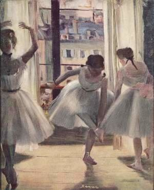 Edgar Degas - Three dancers in a exercise hall
