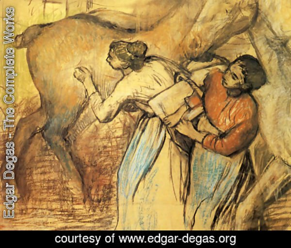 Edgar Degas - Two Laundresses and a Horse