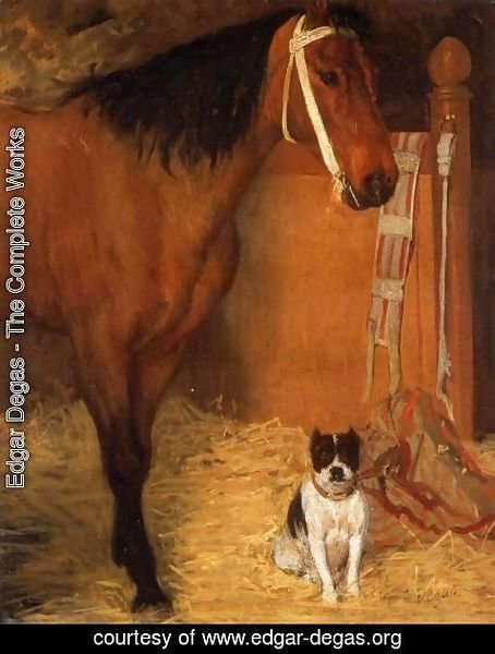 Edgar Degas - At the Stables Horse and Dog 1862
