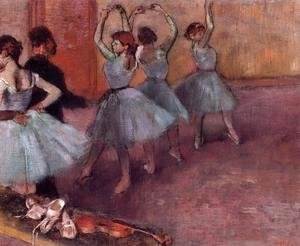 Edgar Degas - Dancers in Light Blue (aka Rehearsing in the Dance Studio) 1882