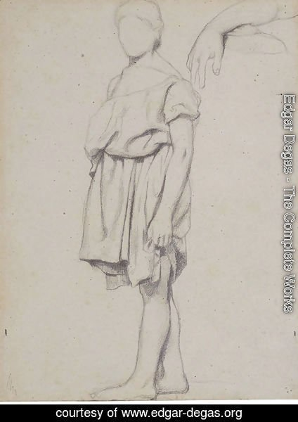 Edgar Degas - A draped figure in profile to the left, and a study of an arm