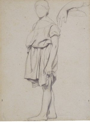 A draped figure in profile to the left, and a study of an arm