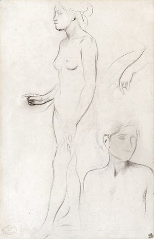 A nude Study for the Figure of Semiramis and futher Studies for her Hand and the Head and Shoulders of an Attendant