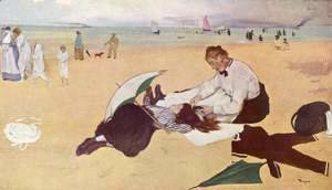 Edgar Degas - Little girl is combed on the beach
