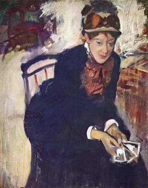 Edgar Degas - Portrait of Miss Cassatt, holding the cards