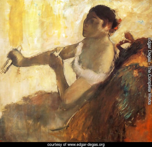 Seated Woman pulling her glove