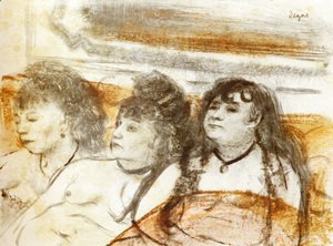 Edgar Degas - Three girls sitting en face
