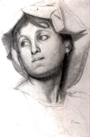 Edgar Degas - Head of a Young Roman Girl