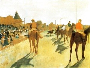 Edgar Degas - Racehorses in Front of the Grandstand 1866-68